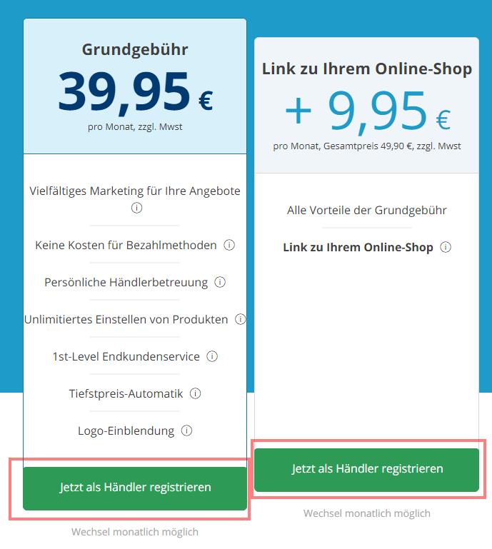 Das Bild zeigt die Registrierung für Händler auf real.