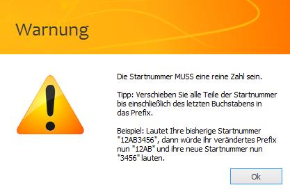 Das Bild zeigt eine Fehlermeldung bei der Erzeugung von Retouren Tracking IDs in unicorn 2.