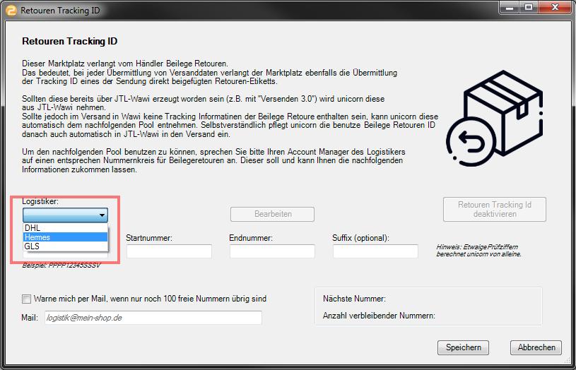 Das Bild zeigt die Einstellungen für die Retouren Tracking IDs in unicorn 2.