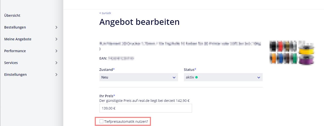 Das Bild zeigt das Händler Backend auf real.de.