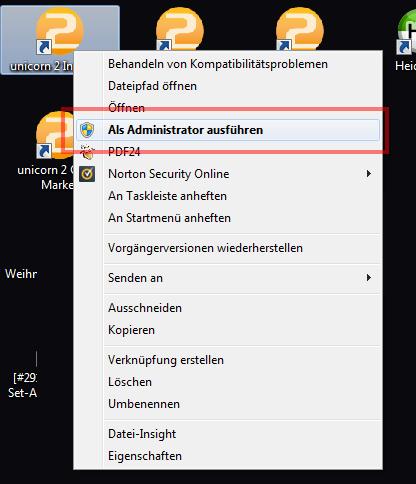 Das Bild zeigt einen Programmstart mit Administratorrechten.