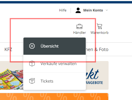 Das Bild zeigt den Internetauftritt von real.de.