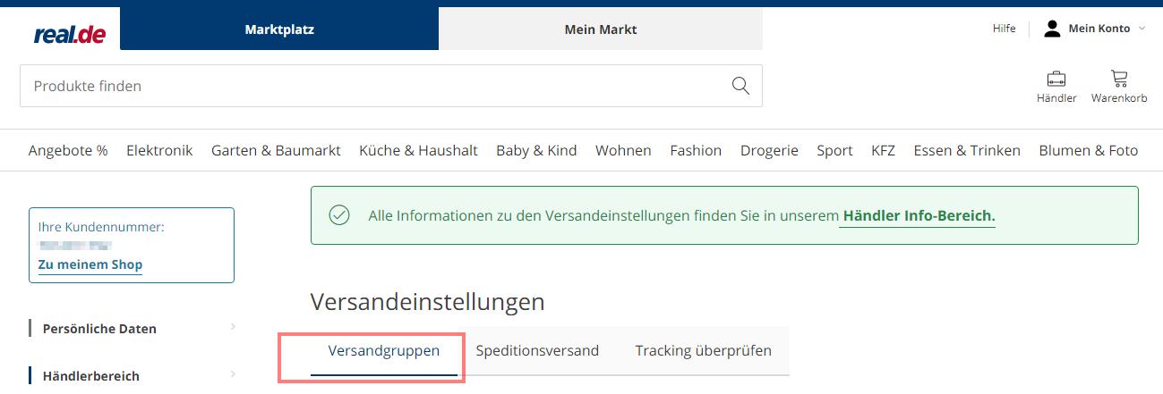 Das Bild zeigt das Händler Backend von real.de.