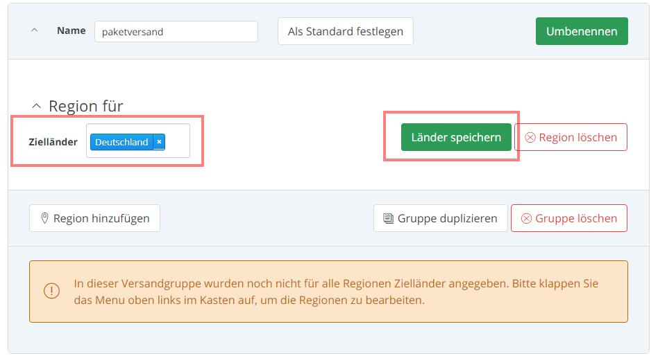 Das Bild zeigt die Versandeinstellungen im Händler Backend von real.de.
