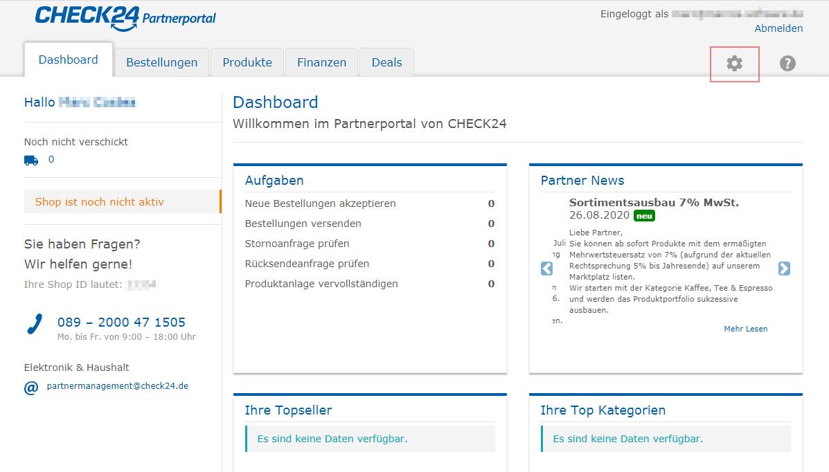 Das Bild zeigt die das Händler Backend von check24.de.