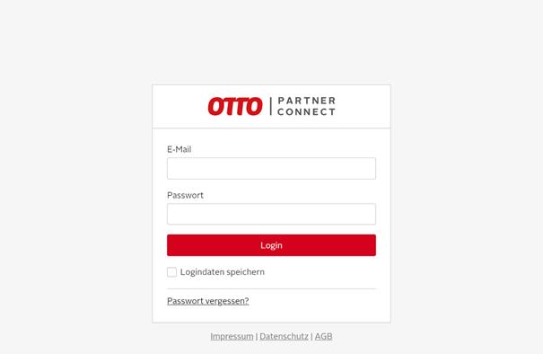 Das Bild zeigt den Login des OTTO Partner Connect Portal.