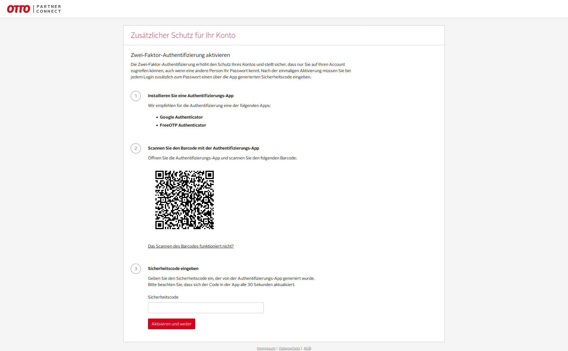 Das Bild zeigt das OTTO Partner Connect Portal.