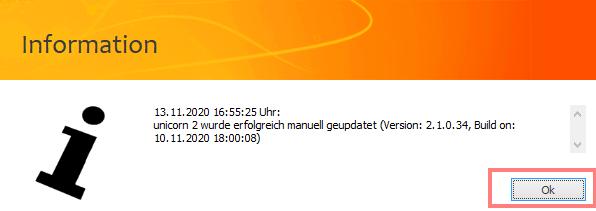 Das Bild zeigt die Update Infobox von unicorn 2.