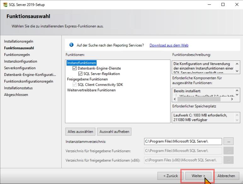 Das Bild zeigt die Installation von MSSQL Server 2019 Express.
