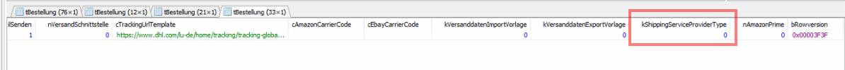 Das Bild zeigt die Konfiguration einer Versandart in der Datenbank der JTL-Wawi.