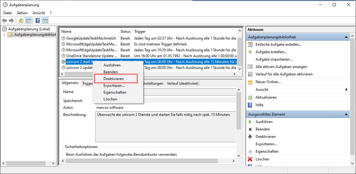 Das Bild zeigt die Aufgabenplanung von Windows 10.
