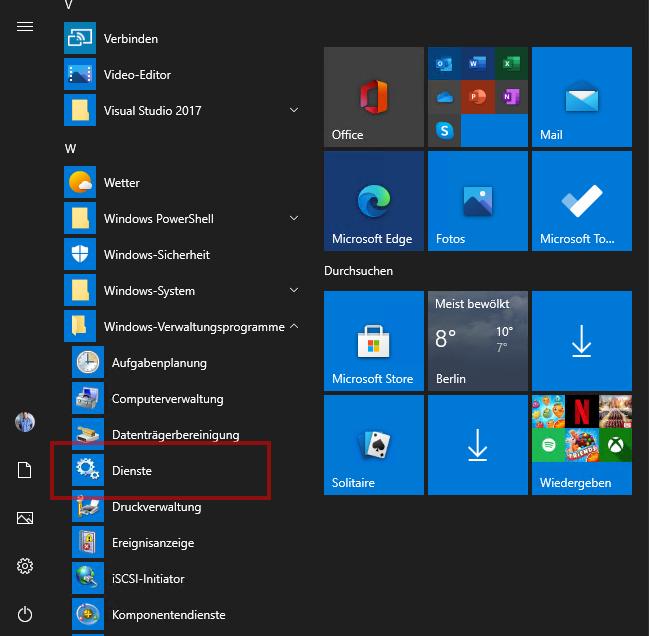 Das Bild zeigt das Startmenü von Windows 10.