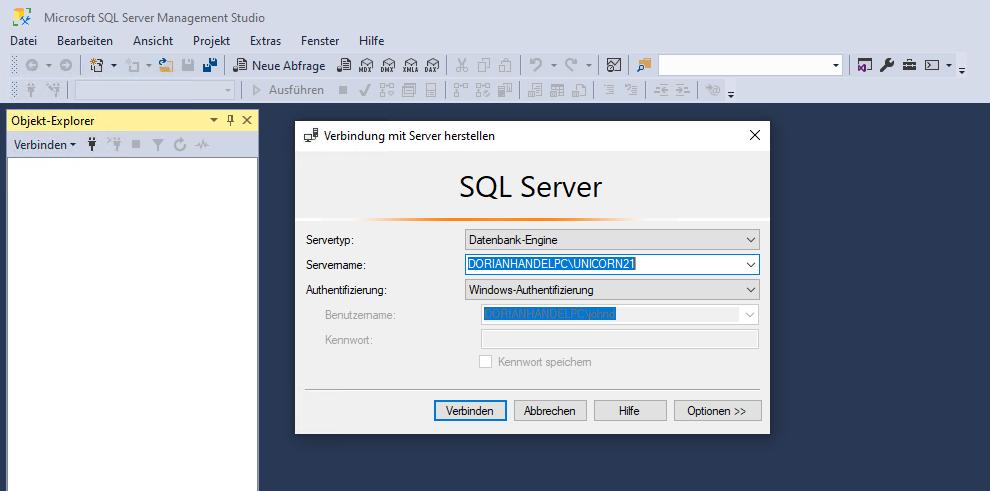 Das Bild zeigt das Microsoft SQL Management Studio.