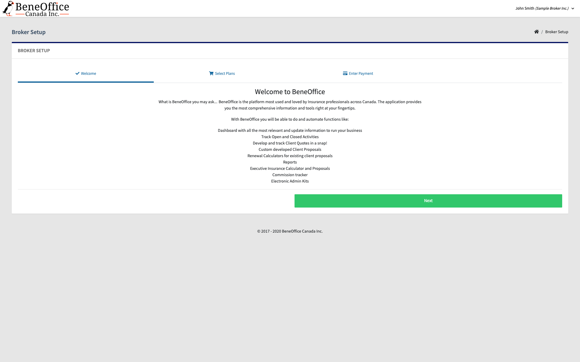 Screenshot of the welcome to BeneOffice page