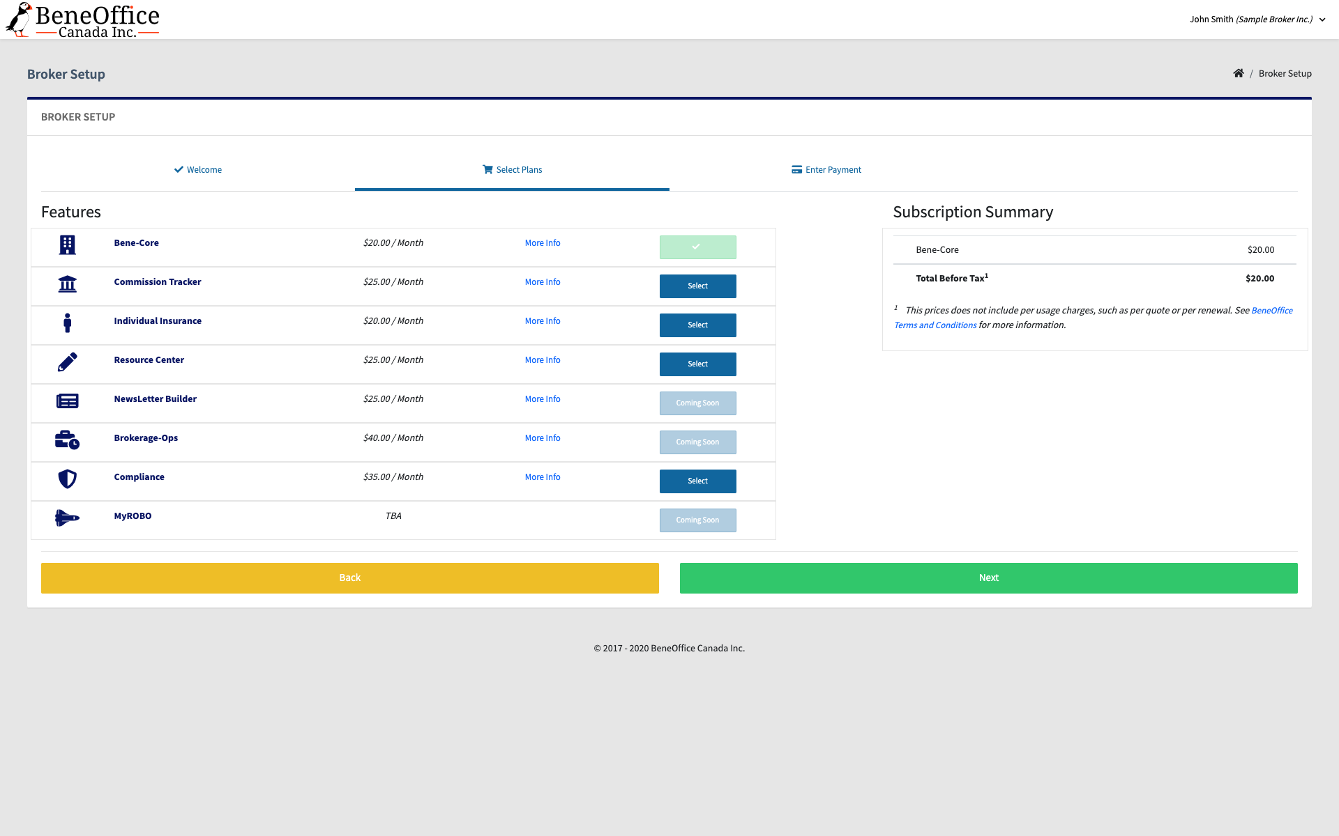 Screenshot of the package selection step.