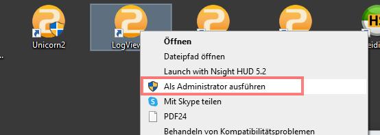Das Bild zeigt das Desktop Icon und das Kontextmenü des LogViewer.