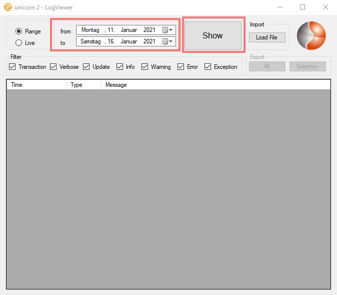 Das Bild zeigt den unicorn 2 LogViewer.