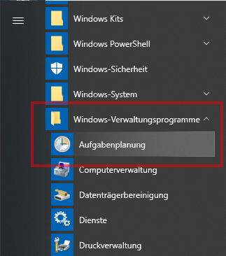 Das Bild zeigt das Windows 10 Startmenü.