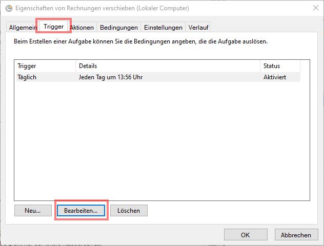 Das Bild zeigt die Windows Aufgabenplanung.