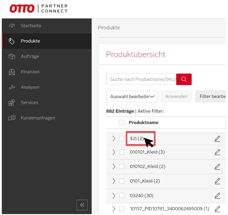 Das Bild zeigt die Produktübersicht im OPC von OTTO Market.