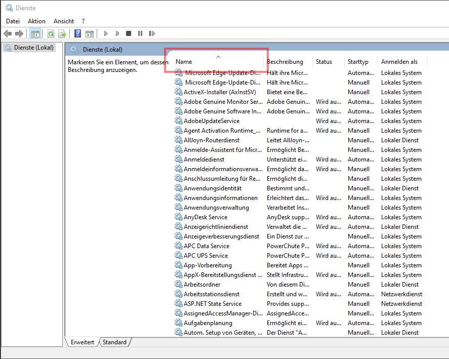 Das Bild zeigt die Diensteverwaltung von Windows 10.