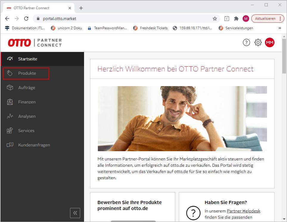 Das Bild zeigt das OTTO Partner Connect.