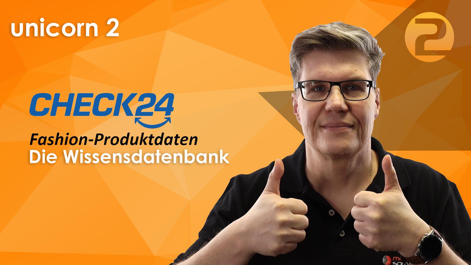 Das Bild zeigt eine Person und das Logo von CHECK24.