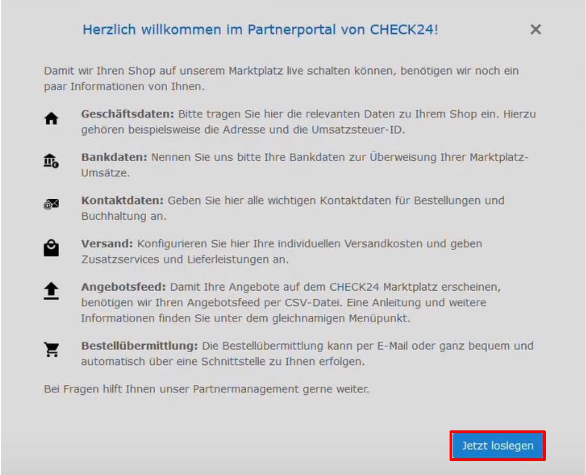 Das Bild zeigt das CHECK24 Partnerportal.