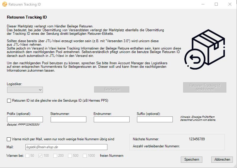 Das Bild zeigt die Retouren ID Verwaltung in unicorn 2.