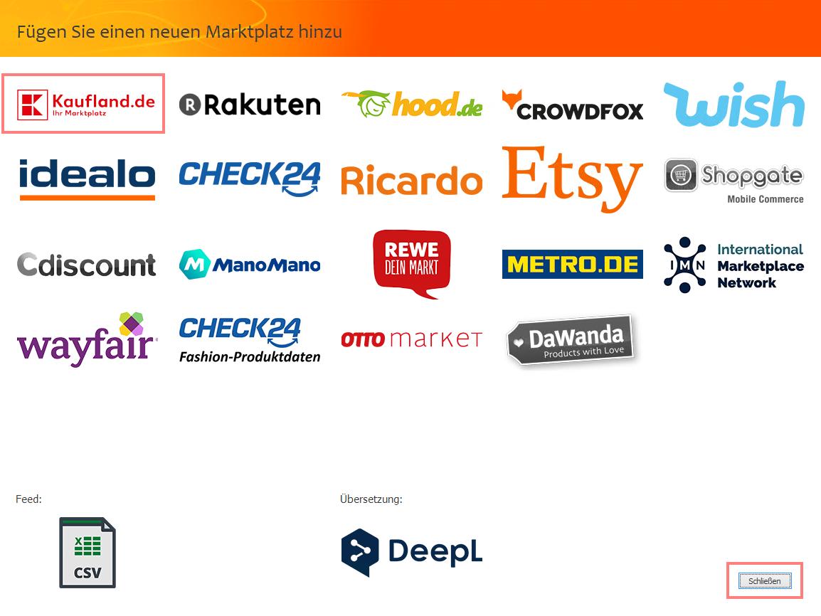 Das Bild zeigt die Marktplatzauswahl in der unicorn 2 Oberfläche sowie die Auswahl Kaufland.de.