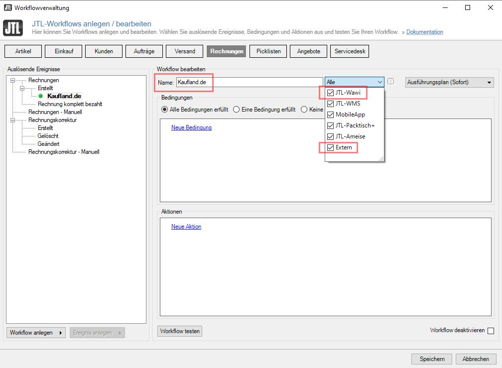 Das Bild zeigt die Workflow-Verwaltung der JTL-Wawi.