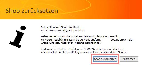 Das Bild zeigt die Shop Einstellungen in unicorn 2.