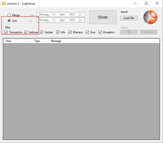 Das Bild zeigt den LogViewer von unicorn 2.