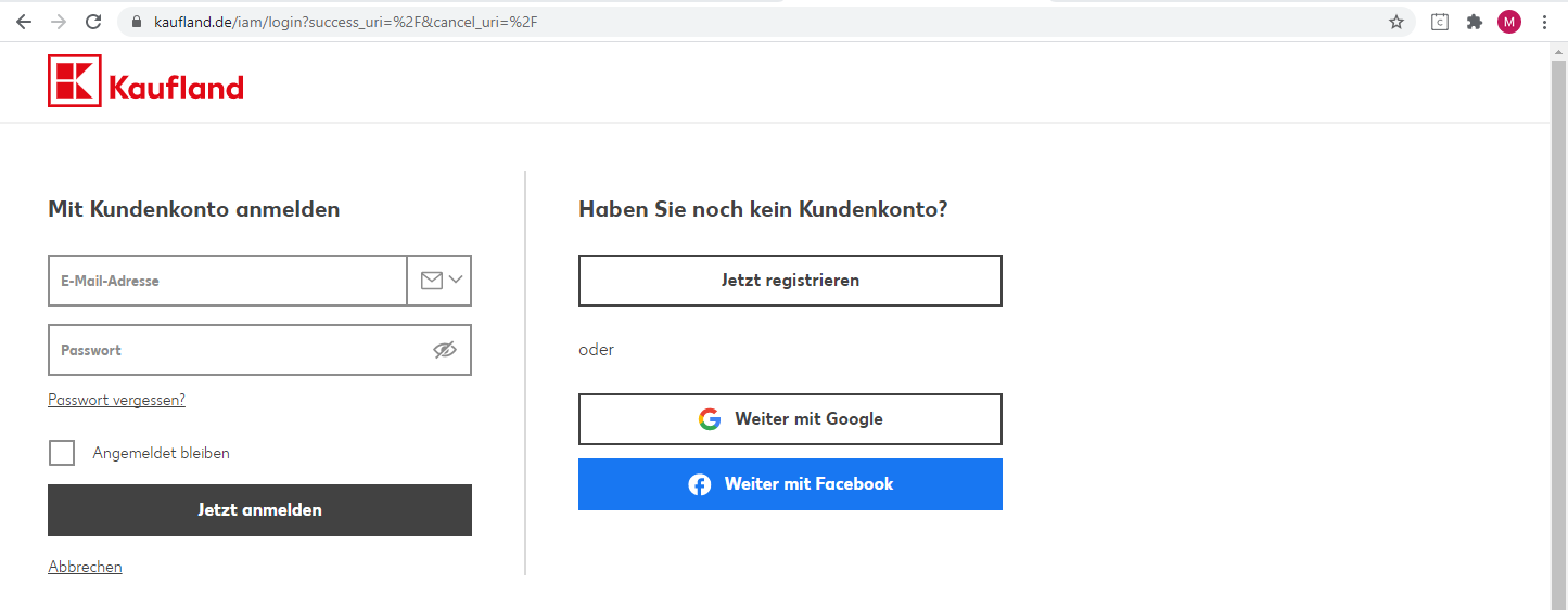 Das Bild zeigt die Website von Kaufland.de.