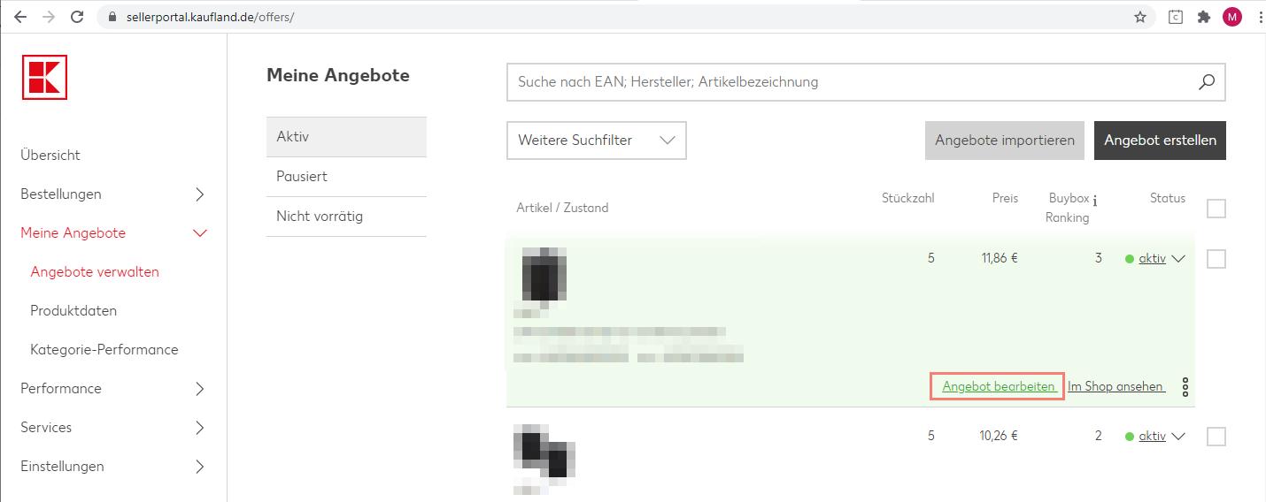 Das Bild zeigt den Login zum Händler Backend auf Kaufland.de.