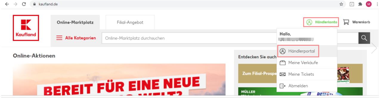 Das Bild zeigt den Login von Kaufland.de.
