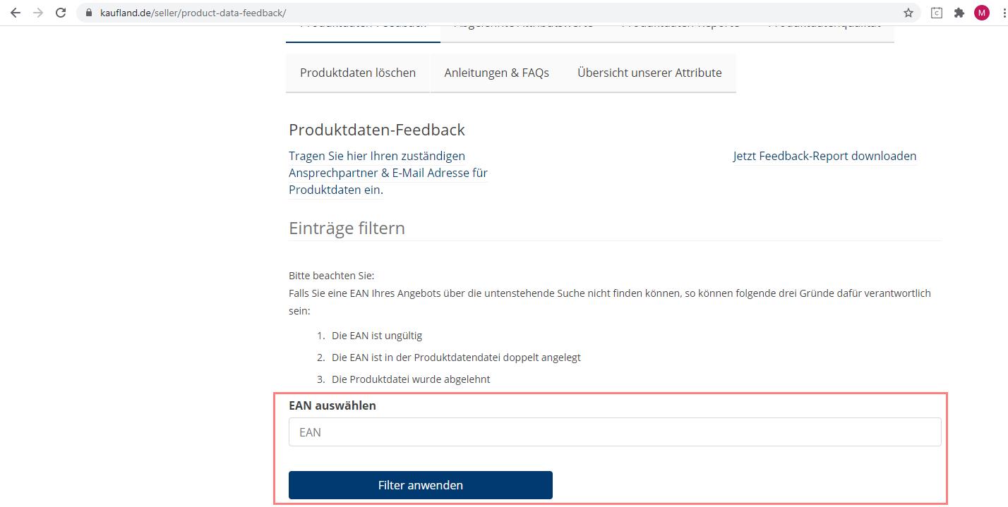 Das Bild zeigt das Händler Backend von Kaufland.de.