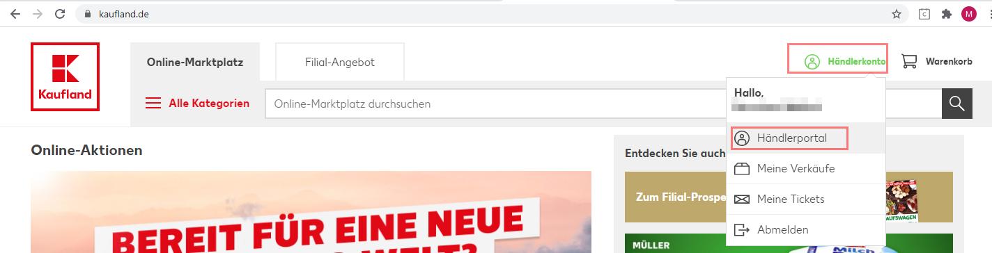 Das Bild zeigt den Internetauftritt von Kaufland.de.