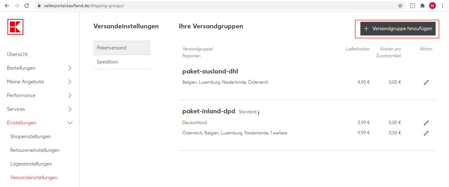 Das Bild zeigt die Versandeinstellungen im Händler Backend von Kaufland.de.