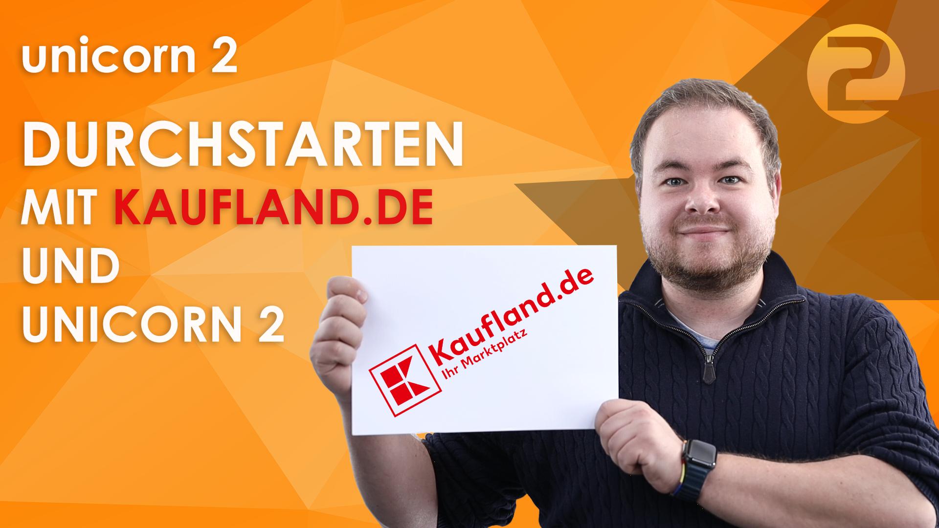 Das Bild zeigt eine Person und das Logo von Kaufland.de.
