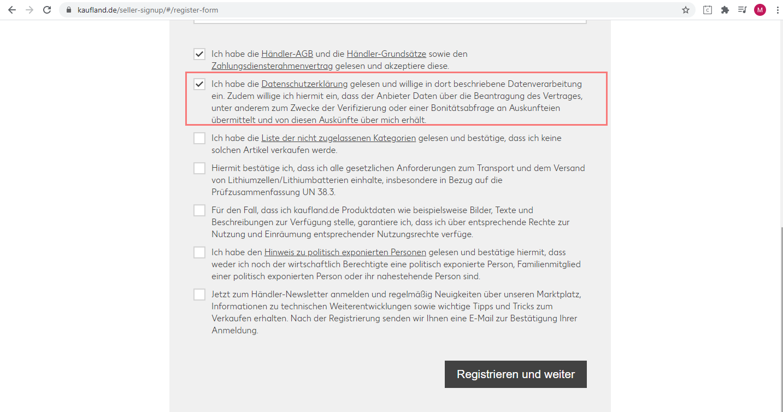 Das Bild zeigt die Registrierungsseite für Händler auf Kaufland.de.