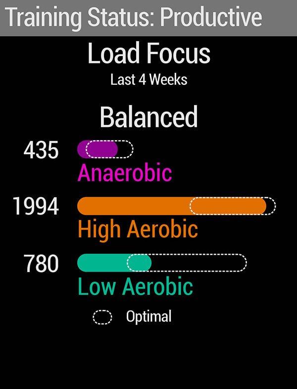 A screen showing training status.