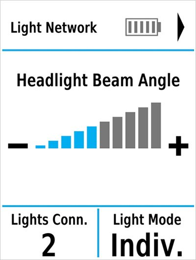 An Edge device screen showing Varia smart bike lights.