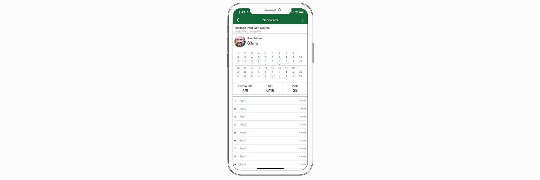 Scorecard history - Garmin Golf™ App