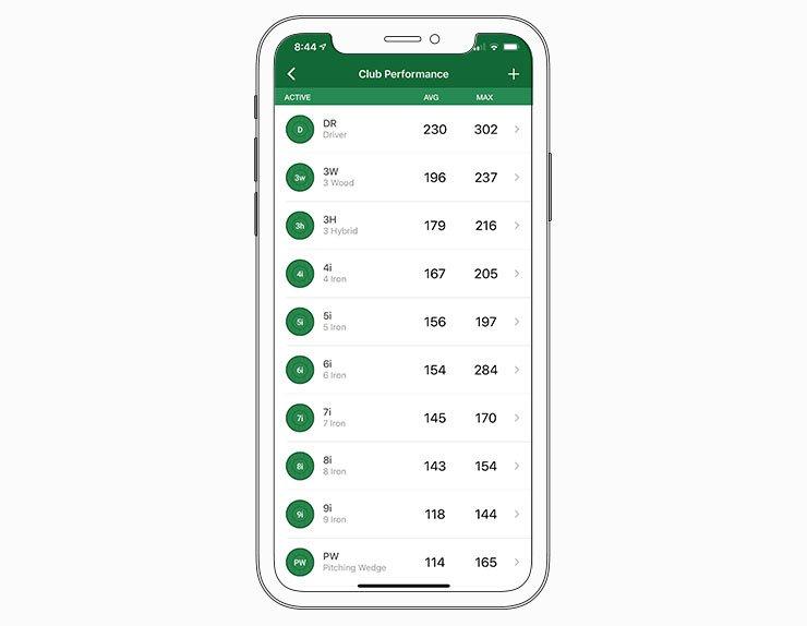 Club stats - Garmin Golf™ App