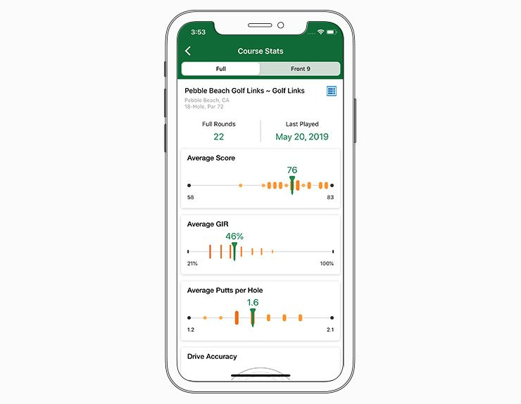 Course stats - Garmin Golf™ App