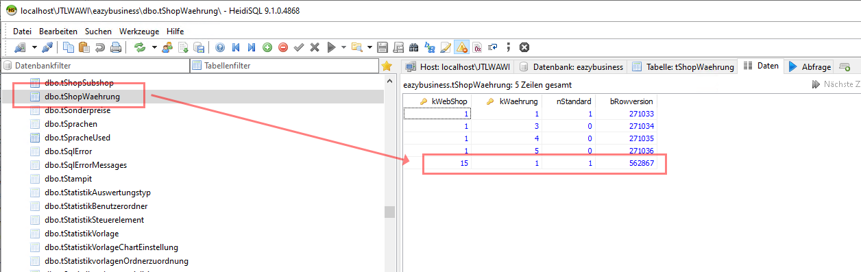 Das Bild zeigt die linke obere Ecke von Freshdesk, sowie die URL von einem Artikel.Das Bild zeigt die JTL-Wawi Datenbank in HeidiSQL.