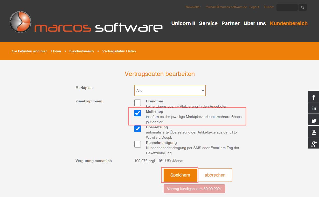 Das Bild zeigt den Kundenbereich von marcos software.