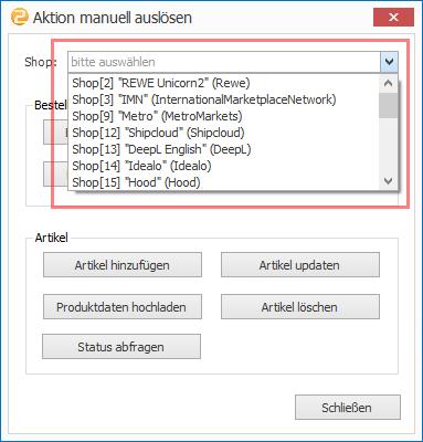 Das Bild zeigt die Funktion Aktion manuell auslösen in unicorn 2.