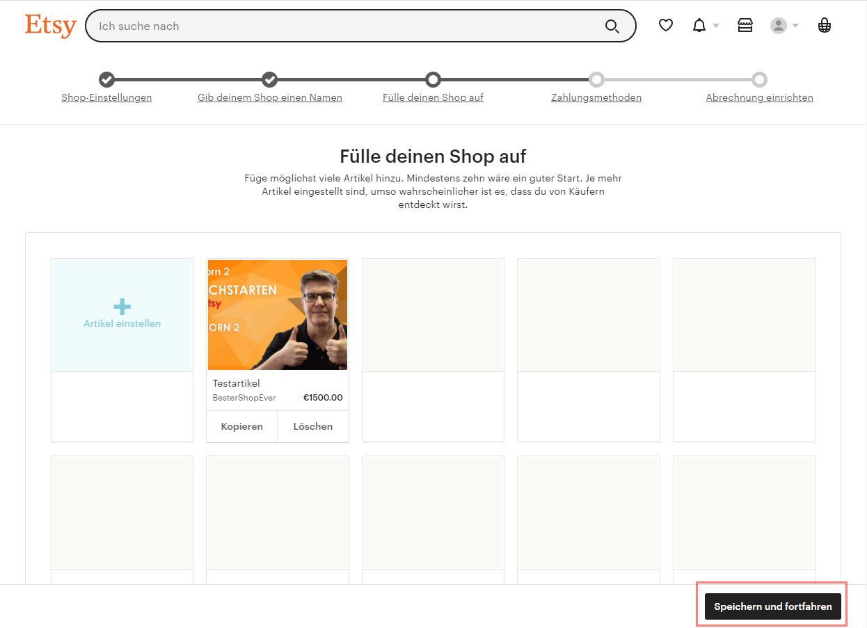 Das Bild zeigt die Landingpage für Verkäufer auf Etsy.